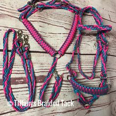 This is a full bridle side pull hackamore made to fit a mini or Shetland pony. It is hand braided out of paracord and has a browband and throatlatch. It adjusts out to 30 and the browband is 12. The side pull adjusts out to 17. Also included is a pair of 5 reins and a breast collar. Feel free to give me custom measurements if your pony or mini is a little different. You can choose up to 3 colors. A color chart is shown in the images. If you would like a different color than the one shown…