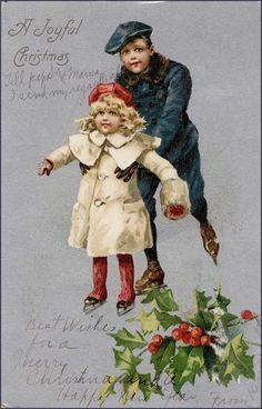 Christmas Images, Christmas And New Year, Christmas Crafts, Christmas Lodge, Antique Christmas, New Year Card, Vintage Greeting Cards, Christmas Printables, Skating