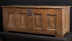 A late medieval oak chest, French, 15th century 28x66x26 legs were originally taller