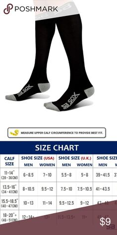 ab18fcc3406ea NEW XL Compression Socks Brand new black & gray compression stockings. Size  XL. Perfect