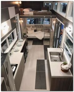 28 Clever Tiny House Interior Design Ideas ~ Home And Garden Best Tiny House, Modern Tiny House, Tiny House Living, Small House Plans, Living Room, Tiny House Layout, Tiny House Design, House Layouts, Tiny House Movement