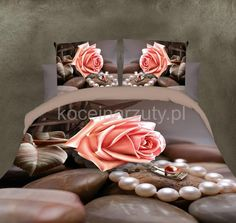 Leżąca róża perły pościel z motywem 3D w kolorze jasnobrązowym