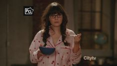 Zooey Deschanel's Pink Heart Pajamas from New Girl.  Outfit Details: http://wwzdw.com/z/1273/ #WWZDW