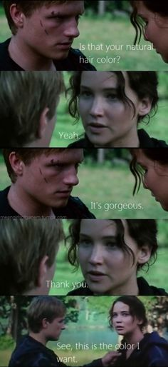 Oh, Peeta.....Bahaha! I love how when they are about to kill themselves, he just touches her hair! :P