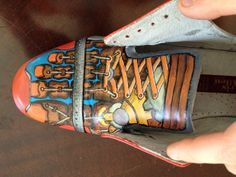Excellent tutorial on how to paint leather shoes.  Suggestion: use stencils to draw a design.  DIY by PenfoldPlant on Instructables.