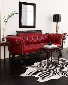 Old Hickory Tannery Red Tufted-Leather Loveseat - ShopStyle Sofas Tufted Couch, Leather Sofa And Loveseat, Loveseat Sofa, Chesterfield Couch, Settee, Living Room Red, Home Living, Modern Living, Red Leather Couches