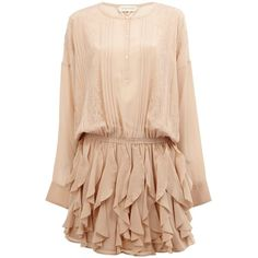 Faith Connexion Lace Detail Ruffled Dress ($1,428) ❤ liked on Polyvore featuring dresses, beige silk dress, silk ruffle dress, frill dress, beige dress and beige cocktail dress