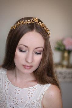 Edwardian gold leaf mini tiara vintage style by AnnaMarguerite