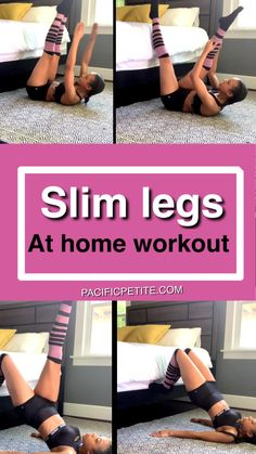 Slim Legs at home workout - Fitness - Sport Slim Legs Workout, Leg Workout At Home, Best Cardio Workout, Easy Workouts, Workout Videos, At Home Workouts, Workout Fitness, Inner Leg Workouts, Workout Body