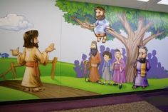 Worlds of Wow - this Bible story of Jesus calling Zacchaeus down from the tree is beautifully illustrated in a children's hallway at Spring Baptist Church in Spring, TX.