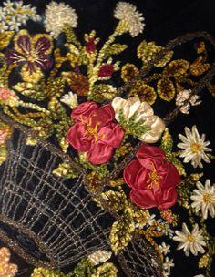 Antique French Floral Basket Silk Chenille Bullion Metallic Velvet Ribbon Roses