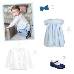 Peças inspiradas no look da Princesa Charlotte - vestido, meia calça e sapatinho azuis e cardigan off white