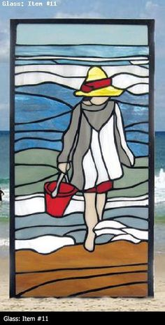 """Morning Surf"" is the first of four original new designs celebrating the happy memories of childhood days spent by the sea. The glass Stained Glass Quilt, Faux Stained Glass, Stained Glass Designs, Stained Glass Panels, Stained Glass Projects, Stained Glass Patterns, Mosaic Art, Mosaic Glass, Glass Painting Designs"
