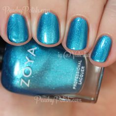 "Zoya: Summer 2015 Paradise Sun Collection - ""Oceane"" is a metallic cerulean with matching shimmer and silver flecks. <3"