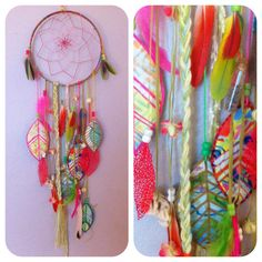 Tropical Ombré Dreamcatcher w Hand Painted by RachaelRiceArt
