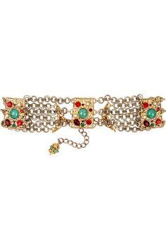 Dolce & Gabbana Crystal-embellished brass belt