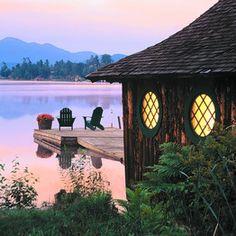 Boat cottage and dock, Mirror Lake Inn, Lake Placid, NY