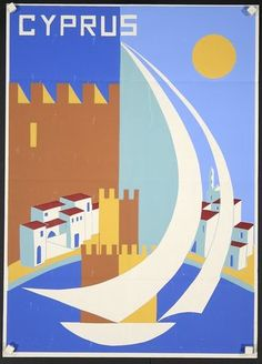 Vintage travel poster of Cyprus, Old Posters, Art Deco Posters, Travel Ads, Travel Images, Vintage Travel Posters, Vintage Postcards, Vintage Advertisements, Vintage Ads, Retro Poster