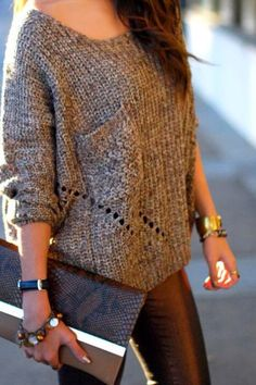 Warm sweater & metallic skinnies
