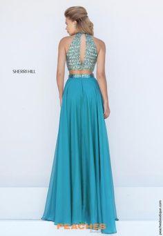 Turquoise Chiffon Sherri Hill Dress 50096