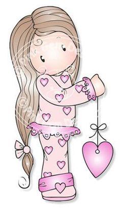 Digital Digi Stamp Chloe in Heart PJ's - Birthday, Valentines, Mothers Day, Love