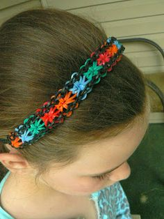 Starburst Headband -- I made this!  Hook two looms together and make a starburst bracelet.  End with a single chain and connect with an 'S' clip.