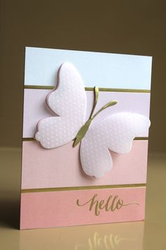Maybe my favorite card ever.  Paper from Fancy That 6 x 6 pad by My Mind's Eye Butterfly from PTI