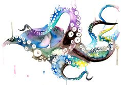Octopus Watercolor Painting Octopus by WatercolorMary on Etsy