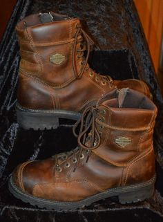 57f8bbb852f MEN S HARLEY-DAVIDSON BROWN LEATHER MOTORCYCLES ZIP LACE BOOTS! SIZE 12   HarleyDavidson