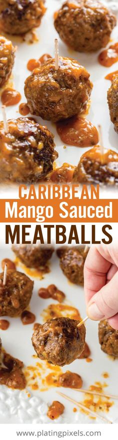 These easy Caribbean Mango Sauced Meatballs have a fruity, sweet and spicy flavor. Moist, tender meatballs coated in a thick, gooey sauce make a quick and unique appetizer. [ad] #KingOfFlavor @elyucateco - www.platingpixels.com