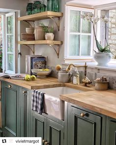 51 Green Kitchen Designs Dream Green Country Kitchen with Kitch. 51 Green Kitchen Designs Dream Green Country Kitchen with Kitchen Sink Farmhouse S Diy Kitchen Remodel, Home Decor Kitchen, New Kitchen, Kitchen Interior, Home Kitchens, Kitchen Dining, Green Kitchen Decor, Kitchen Hacks, Country Kitchen Renovation