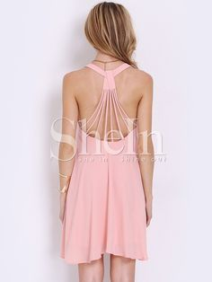 Pink+Sleeveless+Backless+Romantic+Loved+Lolita+Pleated+Dress+16.49