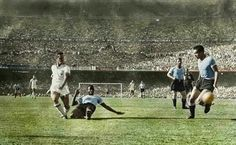 Uruguay 2 Brazil 1 in 1950 at the Maracana. Ademir has a good effort saved in the World Cup Final.