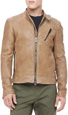 $1,450, Tan Leather Biker Jacket: Belstaff Kirkham Leather Biker Jacket Tan. Sold by Bergdorf Goodman. Click for more info: http://lookastic.com/men/shop_items/32975/redirect