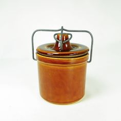 Vintage Brown Stoneware Cheese/Butter Crock, Farmhouse Decor, Storage by OldRedHenVintage on Etsy