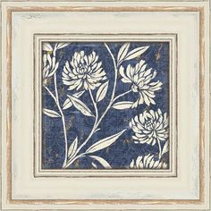 Featuring a floral motif in blue, this eye-catching print adds chic appeal to your entryway or master suite. Product: Art printConstruction Material: PaperColor: White frameFeatures: Floral motifMade in the USADimensions: H x W (framed)