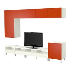 I really like this storage combo if your place is ultra modern.  BESTÅ TV storage combination IKEA Air circulation around the electronics is improved because the TV bench has vents at the top.
