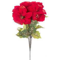 Red Glitter Velvet Poinsettia Bush