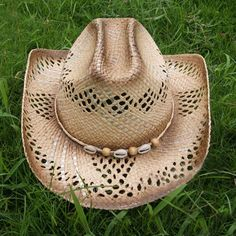 $10.53 Stylish Beads Decorated Openwork Cowboy Hat For Women