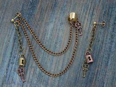 steampunk  ear cuff set copper mixed metals keys lock charms in gypsy boho hippie gothic and fantasy style (22.50 USD) by gildedingypsy