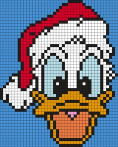 Christmas Donald Duck (Square Grid) by Maninthebook on Kandi Patterns