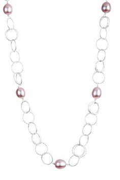 Sterling Silver Pink Freshwater Pearl Circle Loop Necklace