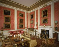 Belton House ~ The Red Drawing Room, it retains its appearance, the cornice and frieze are painted to imitate gilded carving. The original panels of Rose du Barry silk were replaced in Georgian Interiors, Red Interiors, Beautiful Interiors, Beautiful Homes, House Interiors, Belton House, English House, English Style, French Style