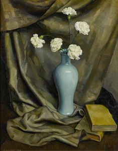 """""""Vase of Carnations,"""" Luigi Lucioni, oil on board, 30 1/4 x 24"""", private collection."""