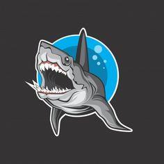 Sugiartoss_ | Freepik Koi Fish Drawing, Fish Drawings, Line Drawing, Animal Drawings, Cool Black Wallpaper, Logo Dragon, Cool Sharks, Shark Logo, Punisher