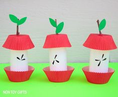 Paper roll apple core craft. Easy fall craft for kids.   at Non Toy Gifts