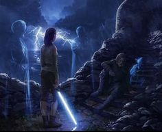 Three imagine scenes of what we didn't see in The Last Jedi of Luke in his final moments accompanied by the Force ghosts of Obi-Wan, Anakin and Yoda Art by Tony Warne More Luke art here. More Jedi art here. More Sequel trilogy art here. Star Wars Rebels, Star Wars Rpg, Rey Star Wars, Images Star Wars, Star Wars Pictures, Star Wars Love, Star Wars Fan Art, Saga, Reylo