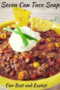 Seven Can Taco Soup in a slow cooker or on the stove top! An easy 7 can Taco Soup Recipe to cook on stovetop or in a crockpot 7 Can Taco Soup Recipe, Easy Taco Soup, Soup Recipes, Great Recipes, Cooking Recipes, Favorite Recipes, 7 Can Soup, Supper Recipes, Seven Can Soup Recipe
