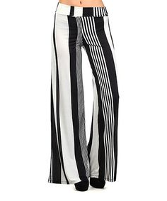 Another great find on #zulily! Black & White Stripe Palazzo Pants #zulilyfinds