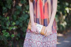 printed bebe maxi dress with straw tory burch clutch on M Loves M los angeles fashion blogger @marmar